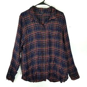 Lucky brand plaid orange navy long sleeve shirt xl